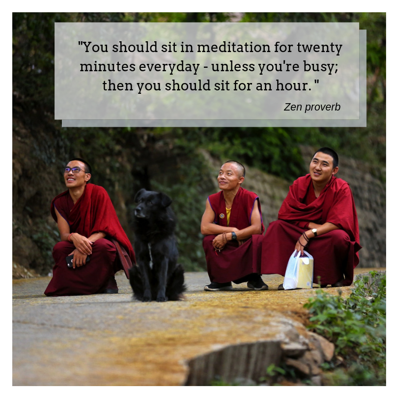 Zen quote; inspirational quote; three monks