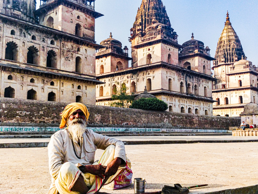 Monk in front of the Royal Chhatris of Orchha