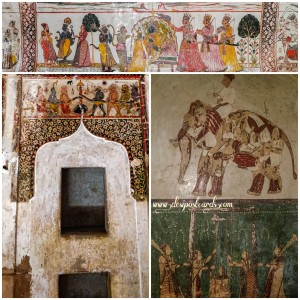 Murals within the walls of Raja Mahal, Orchha